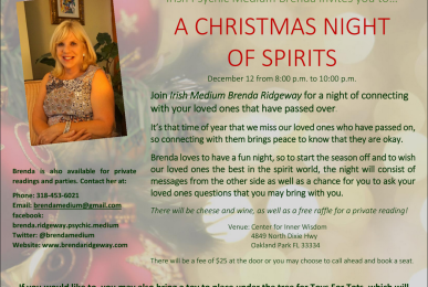 International Psychic Medium Brenda Ridgeway hosting a group reading. A Christmas Night of Spirits.