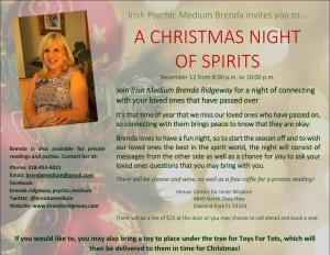 International Psychic Medium Brenda Ridgeway hosting a group reading. A Christmas Night of Spirits.